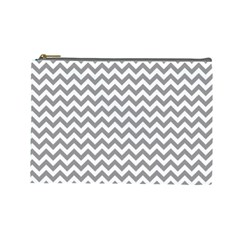 Grey And White Zigzag Cosmetic Bag (Large)