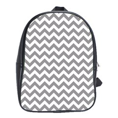 Grey And White Zigzag School Bag (large)