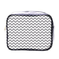 Grey And White Zigzag Mini Travel Toiletry Bag (One Side)