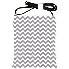 Grey And White Zigzag Shoulder Sling Bag