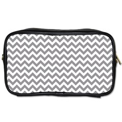 Grey And White Zigzag Travel Toiletry Bag (two Sides)