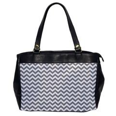Grey And White Zigzag Oversize Office Handbag (one Side)