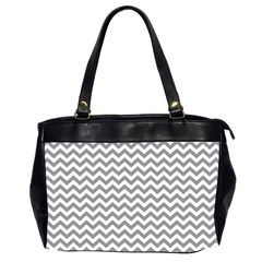 Grey And White Zigzag Oversize Office Handbag (two Sides)