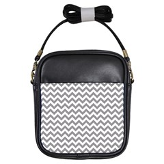 Grey And White Zigzag Girl s Sling Bag