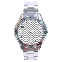 Grey And White Zigzag Stainless Steel Watch