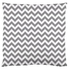 Grey And White Zigzag Large Cushion Case (Single Sided)