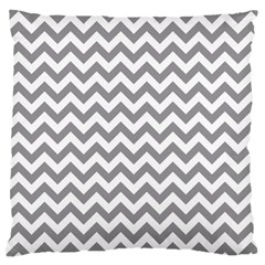 Grey And White Zigzag Large Cushion Case (two Sided)