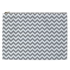 Grey And White Zigzag Cosmetic Bag (XXL)