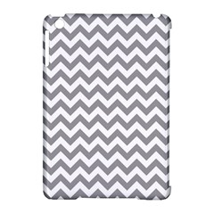 Grey And White Zigzag Apple iPad Mini Hardshell Case (Compatible with Smart Cover)