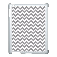 Grey And White Zigzag Apple iPad 3/4 Case (White)