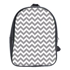 Grey And White Zigzag School Bag (XL)