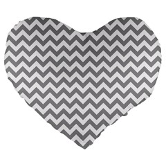 Grey And White Zigzag 19  Premium Heart Shape Cushion
