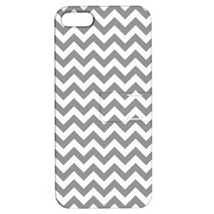 Grey And White Zigzag Apple Iphone 5 Hardshell Case With Stand