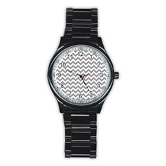 Grey And White Zigzag Sport Metal Watch (Black)
