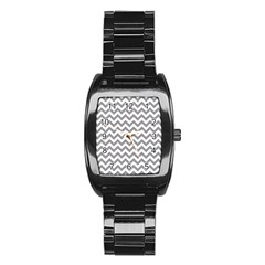 Grey And White Zigzag Stainless Steel Barrel Watch
