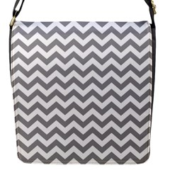 Grey And White Zigzag Flap Closure Messenger Bag (small)