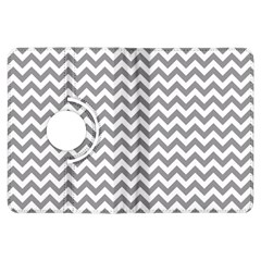 Grey And White Zigzag Kindle Fire HDX 7  Flip 360 Case