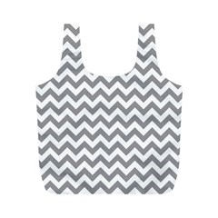 Grey And White Zigzag Reusable Bag (m)