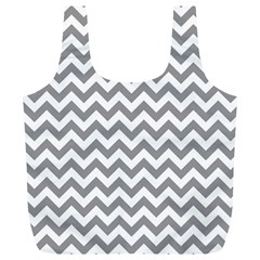 Grey And White Zigzag Reusable Bag (XL)