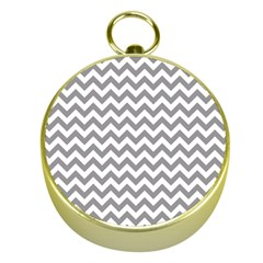 Grey And White Zigzag Gold Compass