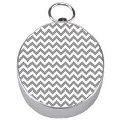 Grey And White Zigzag Silver Compass