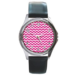 Hot Pink And White Zigzag Round Leather Watch (Silver Rim)