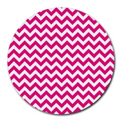 Hot Pink And White Zigzag 8  Mouse Pad (Round)