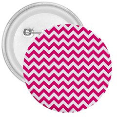 Hot Pink And White Zigzag 3  Button