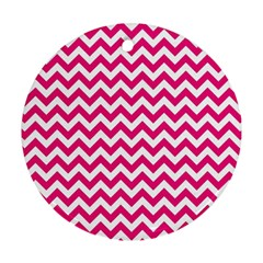 Hot Pink And White Zigzag Round Ornament