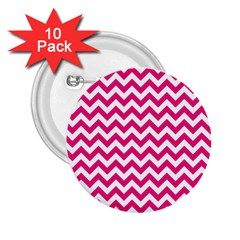 Hot Pink And White Zigzag 2.25  Button (10 pack)