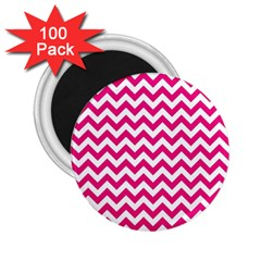 Hot Pink And White Zigzag 2 25  Button Magnet (100 Pack)