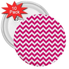 Hot Pink And White Zigzag 3  Button (10 pack)