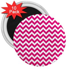 Hot Pink And White Zigzag 3  Button Magnet (10 pack)