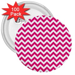 Hot Pink And White Zigzag 3  Button (100 Pack)