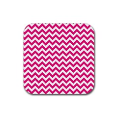 Hot Pink And White Zigzag Drink Coaster (square)