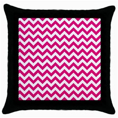 Hot Pink And White Zigzag Black Throw Pillow Case