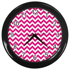Hot Pink And White Zigzag Wall Clock (black)
