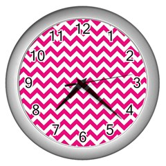 Hot Pink And White Zigzag Wall Clock (silver)