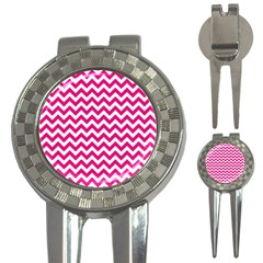 Hot Pink And White Zigzag Golf Pitchfork & Ball Marker