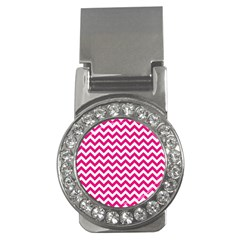 Hot Pink And White Zigzag Money Clip (CZ)