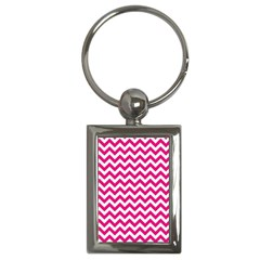 Hot Pink And White Zigzag Key Chain (rectangle)