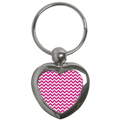 Hot Pink And White Zigzag Key Chain (Heart)