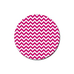 Hot Pink And White Zigzag Drink Coaster (Round)