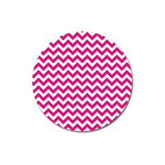 Hot Pink And White Zigzag Magnet 3  (Round)