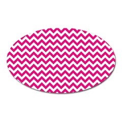 Hot Pink And White Zigzag Magnet (Oval)