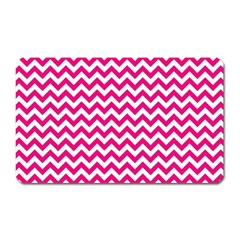 Hot Pink And White Zigzag Magnet (Rectangular)