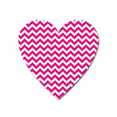 Hot Pink And White Zigzag Magnet (Heart)