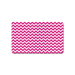 Hot Pink And White Zigzag Magnet (Name Card)