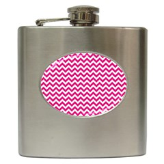 Hot Pink And White Zigzag Hip Flask