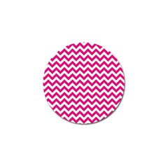 Hot Pink And White Zigzag Golf Ball Marker